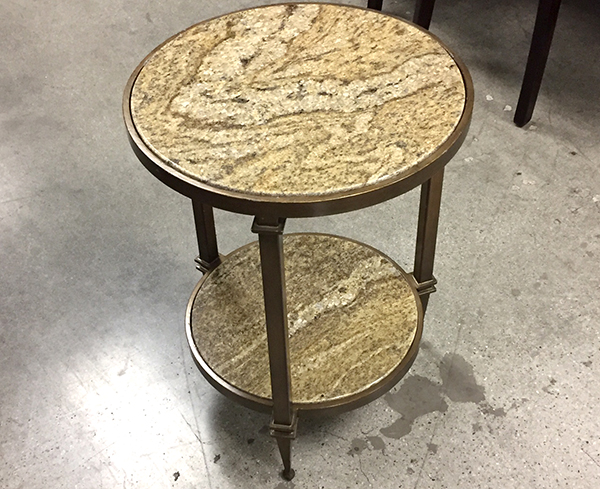 Pebble Beach Round Granite End Table