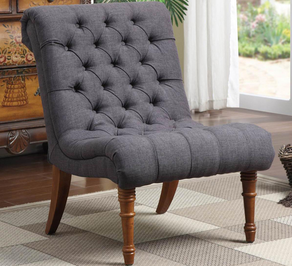 Gray Tufted Armless Chair With Turned Legs
