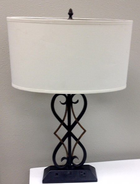 hotel surplus metal table lamp with outlets. Black Bedroom Furniture Sets. Home Design Ideas